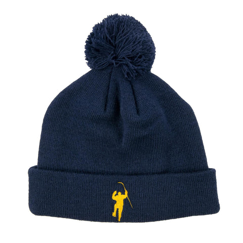 Navy with Yellow Logo Cuff Knit Hat with Pom