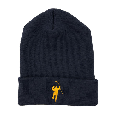 Navy with Yellow Logo Knit Hat (Cuffless)