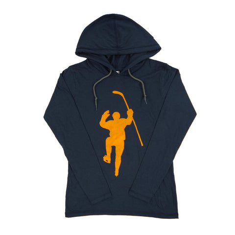 Navy with Yellow Logo Dual Blend Hoodie (Women)