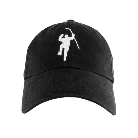 Black with White Logo Fitted Hat