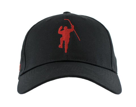 Black with Red Logo Adjustable Hat