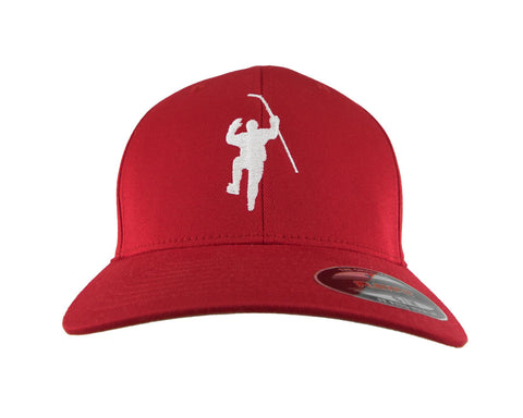 Red with White Logo Flex Fit Hat (L/XL)