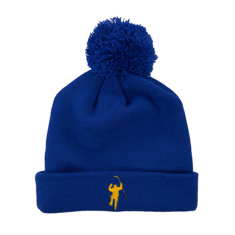 Royal with Yellow Logo Cuff Knit Hat with Pom