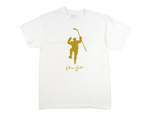 Shine Gold White With Gold Logo Tee Shirt (Youth)
