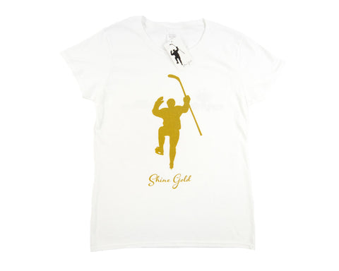 Shine Gold White With Gold Logo Tee Shirt (Womens)