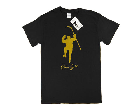 Shine Gold Black with Gold Logo Tee Shirt