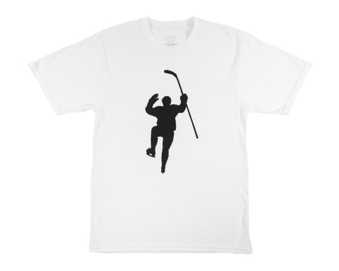 White with Black Logo Performance Tee Shirt