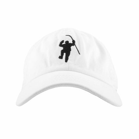 White with Black Logo Fitted Hat