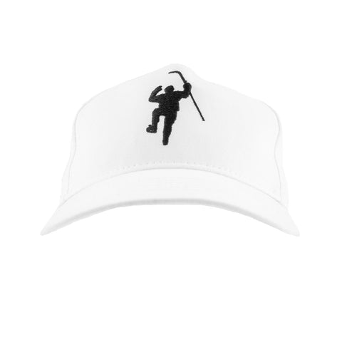 White with Black Logo Adjustable Hat (Youth)