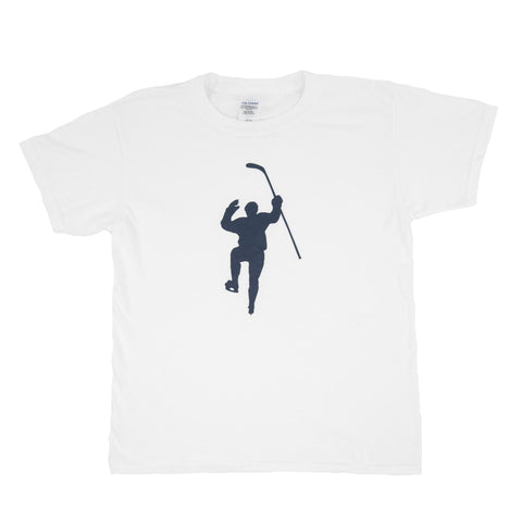 White with Navy Logo Tee Shirt (Youth)