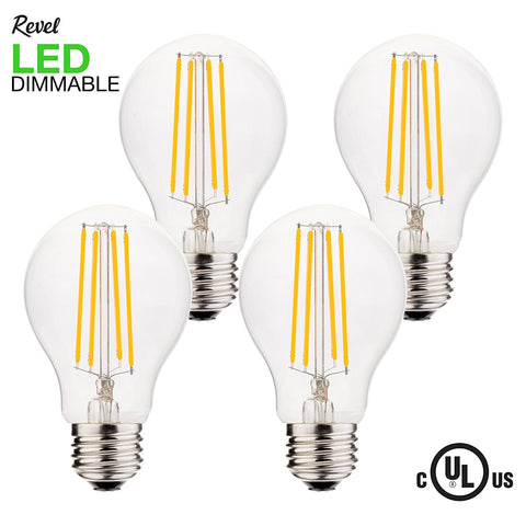 Revel LED 6W Dimmable Light Bulb (60W replacement), Warm White 2700K 806LM, 4-Pack