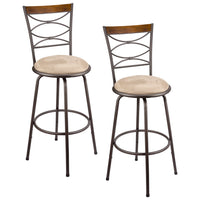 "Kira Home Avery 30"" Adjustable Swivel Barstool w/ Real Wood Accent Back, Bronze Metal Finish, Set of 2"