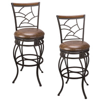 "Kira Home Monarch II 30"" Swivel Bar Stool, Brown Leatherette Seat Cushion, Mosaic Backrest with Real Wood Accent, Old Steel Finish, Set of 2"