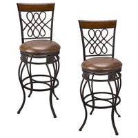 "Kira Home Monarch I 30"" Swivel Bar Stool, Old Steel Finish, Brown Faux Leather Seat, Set of 2"