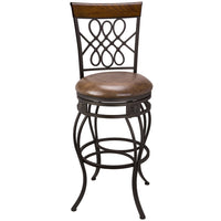 "Kira Home Monarch I 30"" Swivel Bar Stool, Brown Leatherette Seat Cushion, Scroll Backrest with Real Wood Accent, Old Steel Finish"