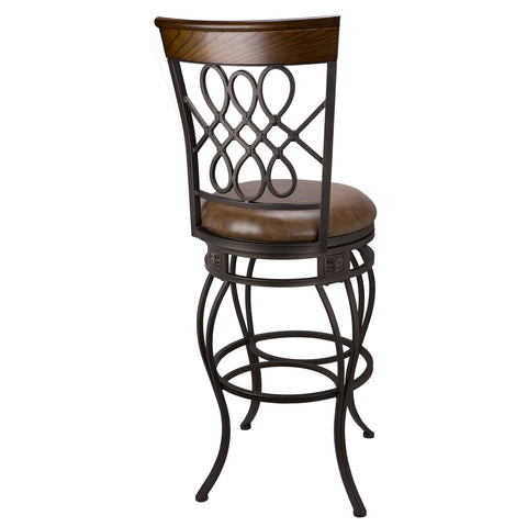 "Revel Monarch I 30"" Swivel Bar Stool, Old Steel Finish, Faux Brown Leather Seat (1)"