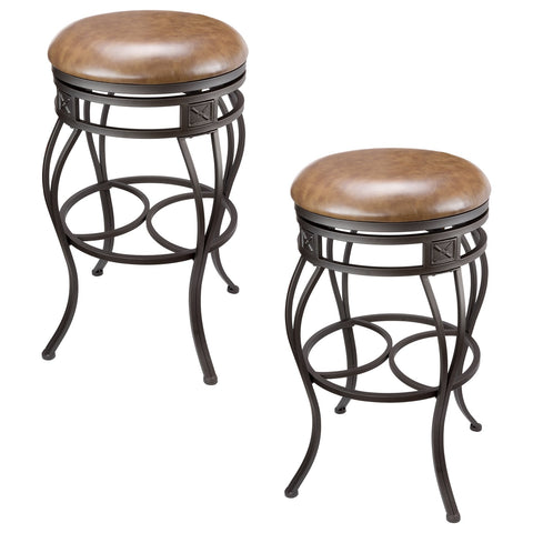 "Kira Home Monarch 30"" Backless Swivel Bar Stool, Old Steel Finish, Brown Faux Leather Seat, Set of 2"