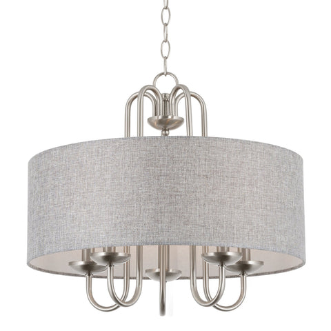 "Kira Home Gwenyth 20"" 5-Light Modern Drum Chandelier + Gray Fabric Shade, Brushed Nickel Finish"