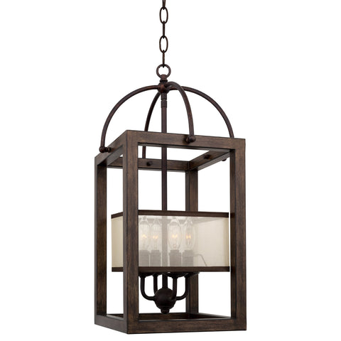 "Kira Home Raven 23"" 4-Light Traditional Lantern Pendant, Foyer Chandelier with Metal Cage Frame + Organza Fabric Shade, Mission Wood Style Finish"
