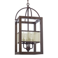 "Kira Home Raven 23"" 4-Light Transitional Foyer Lantern Cage Chandelier, Metal Frame + Mission Wood Style Finish"