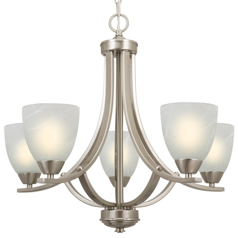 "Revel / Kira Home Weston 24"" 5-Light Large Chandelier, Brushed Nickel"