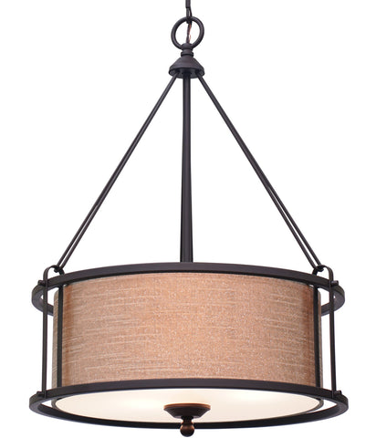 "Kira Home Maxwell 17.5"" 3-Light Metal Drum Chandelier + Glass Diffuser, Oil-Rubbed Bronze Finish"
