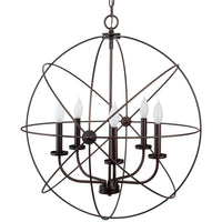 "Kira Home Kir Home Orbits II 24"" Large 5-Light Modern Farmhouse Orb Chandelier, Oil Rubbed Bronze Finish"