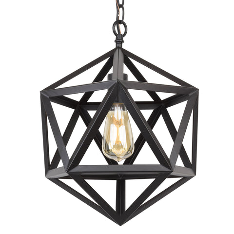 "Kira Home Trenton 12.5"" Modern Industrial Wrought Iron Metal Geometric Pendant Chandelier, Adjustable Chain, Black Finish"
