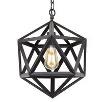 "Kira Home Trenton 16"" Modern Industrial Wrought Iron Metal Geometric Pendant Chandelier, Adjustable Chain, Black Finish"