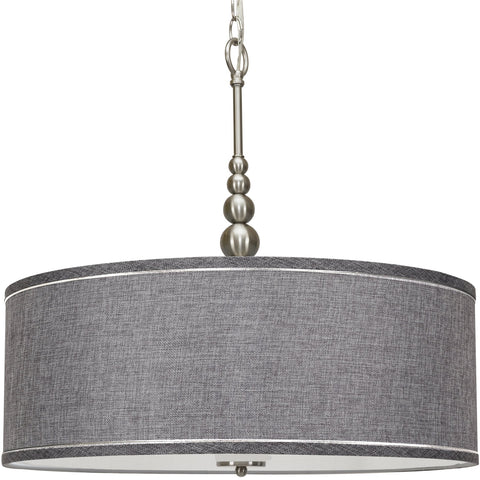 "Kira Home Adelade 22"" Modern 3-Light Drum Pendant Chandelier, Gray Fabric Shade, Tempered Glass Diffuser, Adjustable Height, Brushed Nickel Finish"