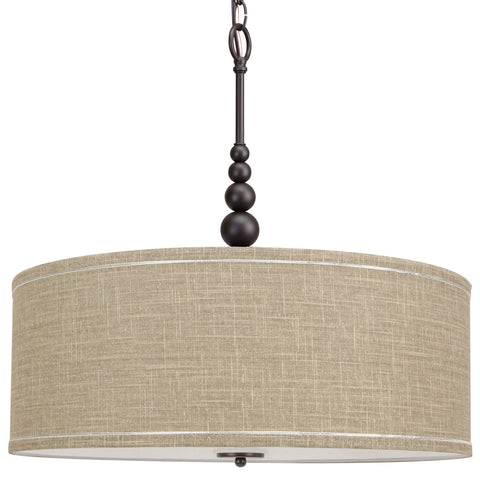 "Kira Home Adelade 22"" Modern 3-Light Drum Pendant Chandelier, Sand Fabric Shade, Tempered Glass Diffuser, Adjustable Height, Oil-Rubbed Bronze Finish"
