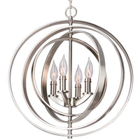 "Revel Orbits 18"" 4-Light Modern Sphere/Orb Chandelier, Brushed Nickel Finish"