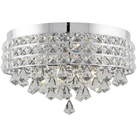 "Kira Home Gemma 15"" Modern Chic 4-Light Flush Mount Crystal Chandelier + Round Metal Shade, Dimmable, Chrome Finish"