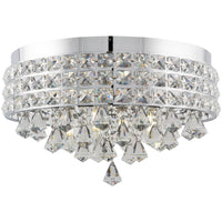 "Kira Home Gemma 15"" Contemporary 4-Light Flush Mount Crystal Chandelier, Round Metal Shade + Chrome Finish"