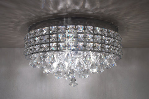 "Revel Gemma 15"" 4-Light Flush Mount Crystal Chandelier, Chrome Finish"