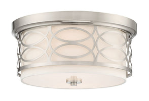 "Revel / Kira Home Sienna 13"" 2-Light Flush Mount Ceiling Light + Glass Diffuser, Brushed Nickel Finish"