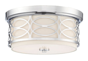"Kira Home Sienna 13"" Modern 2-Light Flush Mount Ceiling Light + Round Frosted Glass Diffuser, Chrome Finish"