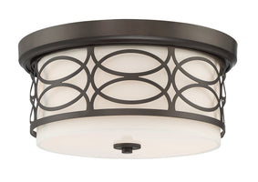 "Kira Home Sienna 13"" Modern 2-Light Flush Mount Ceiling Light, Fabric Drum Shade + Frosted Glass Diffuser, Oil-Rubbed Bronze Finish"