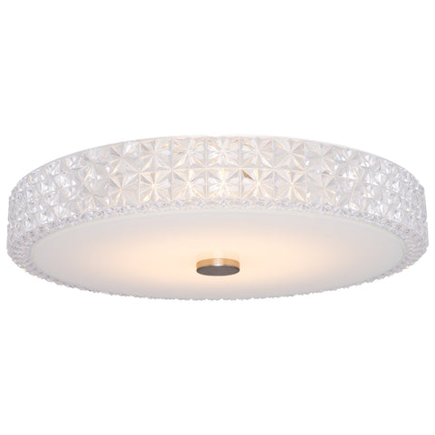 "Kira Home Maxine 15"" Modern Flush Mount Ceiling Light, Integrated 20W LED (120W eq.), Clear Crystal Style Shade + Round Glass Diffuser, 3000k Warm White Light, White Finish"