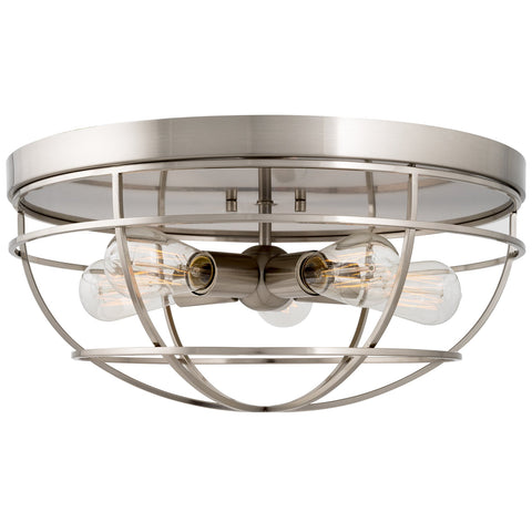 "Kira Home Gage 18"" Heavy Duty Industrial Farmhouse 5-Light Metal Cage Flush Mount Ceiling Light, Brushed Nickel Finish"