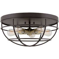 "Kira Home Gage 18"" Industrial Farmhouse 5-Light Cage Flush Mount Ceiling Light, Antique Brass Sockets, Oil Rubbed Bronze Finish"