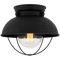 "Kira Home Bayside 11"" Industrial Farmhouse Flush Mount Ceiling Light + Seeded Glass Shade, Matte Black Finish"