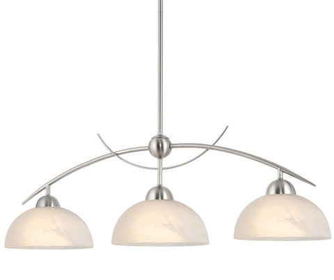 "Kira Home Athena 31"" Modern & Contemporary 3-Light Pendant Island Light + Alabaster Glass Shades, Adjustable Hanging Height, Brushed Nickel Finish"