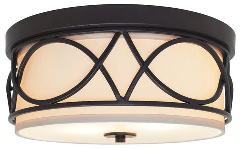 "Kira Home Sofia 13"" Round 2-Light Flush Mount Ceiling Light with Glass Diffuser, Oil-Rubbed Bronze Finish"