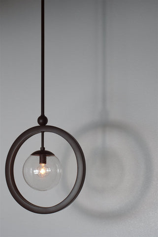 "Kira Home Lucia 14.5"" Modern Ring Pendant Light + Seeded Glass Orb/Globe, Adjustable Height, Oil Rubbed Bronze Finish"