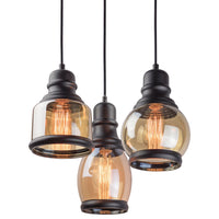 "Kira Home Hudson 11.5"" 3-Light Multi-Pendant Chandelier with Amber Tinted Jar Glass Shades, Adjustable Corded Pendant, Matte Black Finish"