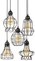 "Kira Home Wyatt 15"" Modern Industrial 5-Light Cluster Pendant Chandelier + Wire Cage Metal Shades, Customizable Height, Matte Black Finish"