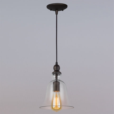 "Revel Mead 7.5"" Rustic Vintage Bell Glass Wired Pendant Light + 6.5W LED Edison Vintage Bulb (50W eq.) Energy Efficient, Eco-Friendly Hanging Light"