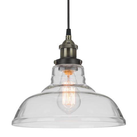 "Kira Home Revel Rutherford 11"" Vintage Edison Industrial 1-Light Pendant Glass Hanging Light + Adjustable Wire"