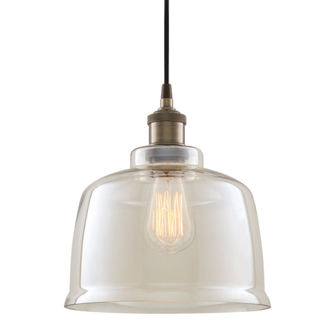 "Kira Home Hawthorne 9"" Vintage Industrial Pendant Light + Tinted Glass Shade, Adjustable Wire, Antique Brass Finish"